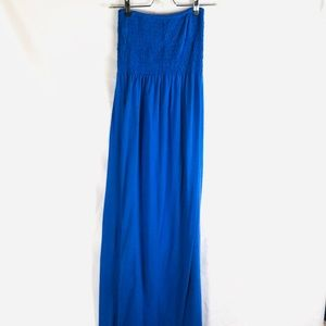 FEATHERS royal blue maxi dress ruched M tube top